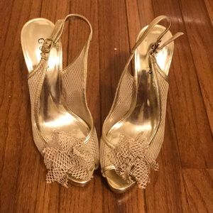 Guess gold mesh shoes size 7